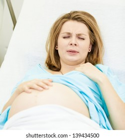 Pregnant woman in delivery room