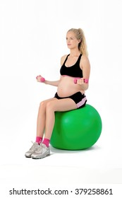 Pregnant Woman Fitness Exercise. Bicep Curl