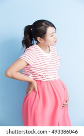 pregnant woman have pain isolated on bluebackground, asian