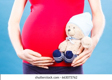 Pregnant woman holding fluffy toy teddy bear for kids, concept of expecting for baby and extending family