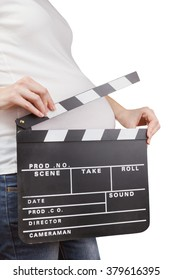 Pregnant woman holding movie clapperboard isolated on white background