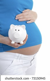 Pregnant woman holding piggy bank