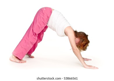 Pregnant woman making fitness exercises