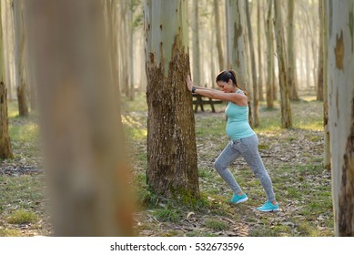 Pregnant woman on fitness outdoor workout. Pregnancy healthy lifestyle and exercise. Female gravid athlete stretching.