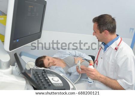 Pregnant Woman On Her Prenatal Ultrasound