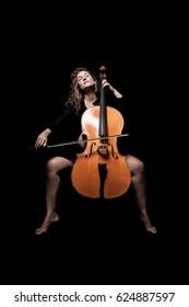 pregnant woman play cello