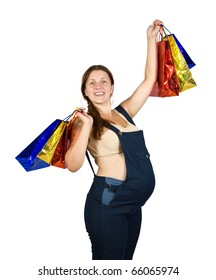 pregnant woman with shopping bags. Isolated over white background