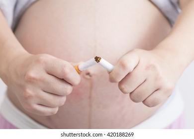 Pregnant woman stop to smoking