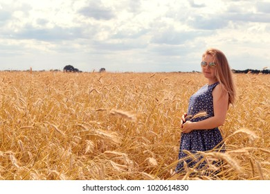 Pregnant woman in wheat field. Free space for text.