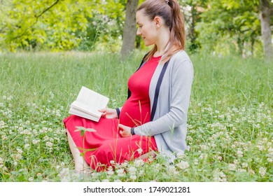 A pregnant young woman is reading a book in a park sitting on the grass.