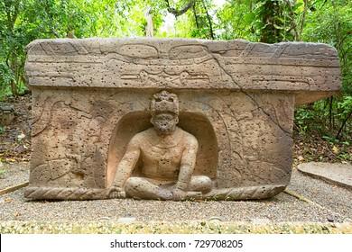 pre-hispanic olmec stone altar in the La Venta archeological park in Villahermosa Mexico