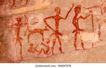 Prehistoric cave paintings over 4,000 years Khao Chan Ngam, Nakhon Ratchasima.