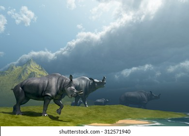 Prehistoric Fog - A herd of Brontotherium come down to a lake for a drink in the Early Oligocene Period.
