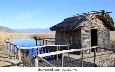 The prehistoric lakeside settlement of Dispilio, near Orestiada lake ( Kastoria, Greece)