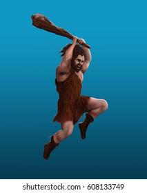 Prehistoric man strikes with a club in a jump