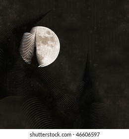 prehistoric moon - old paper textured background with abstract giant ferns and full moon