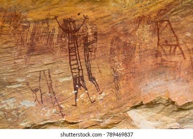 Prehistoric paintings of Serra da Capivara, Piaui, Brazil