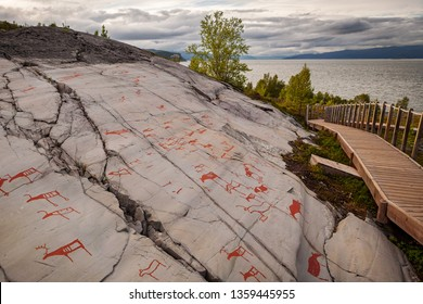 Prehistoric petroglyphs landscape view in Alta, Norway