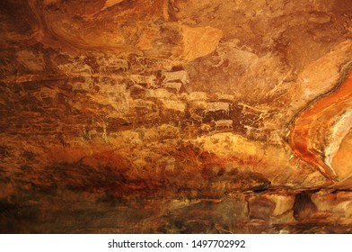 Pre-historic rock shelters paintings of animals