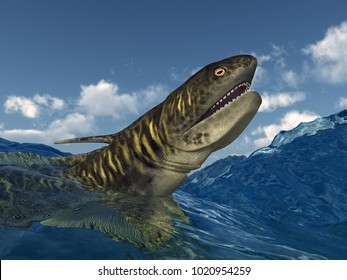 Prehistoric shark Orthacanthus in the stormy sea Computer generated 3D illustration