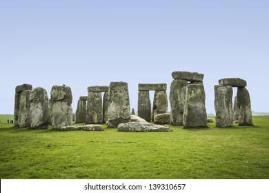 prehistoric standing stone circle of stonehenge on salisbury plain wiltshire england