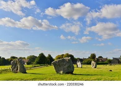 Prehistoric Standing Stones at Avebury in Wiltshire England