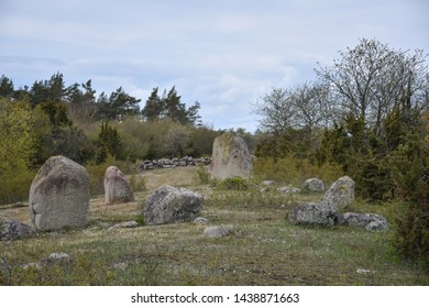 Prehistoric standing stones in a circle by Jordtorp at the swedish island Oland