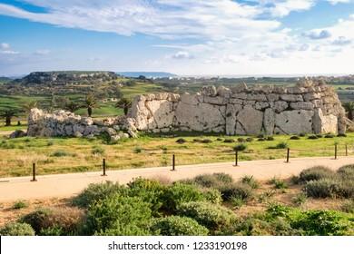 The prehistoric stone megalithic complex Ggantija on Gozo island, Malta, is older than famous Stonehenge
