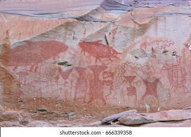 Pre-historical cave paintings over 3000 years at Pha Tam National Park, Ubon Ratchathani, Thailand
