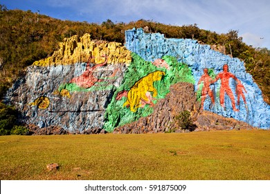 Prehistorical mural (Mirador) in Valle de Vinales, Cuba
