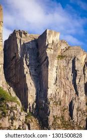 Preikestolen or Prekestolen (Preachers Pulpit, Preachers Chair or Pulpit Rock) steep cliff as seen from Lysefjord (Lysefjorden) fjord, a major tourist attraction Norway, Scandinavia