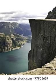Preikestolen  pulpit-rock view in Norway fjord landscape