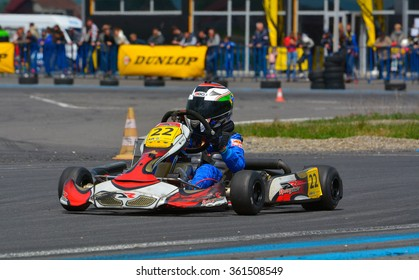 PREJMER, BRASOV, ROMANIA - MAY 3: Unknown pilots competing in National Karting Championship Dunlop 2015, on May 3, 2015 in Prejmer, Romania