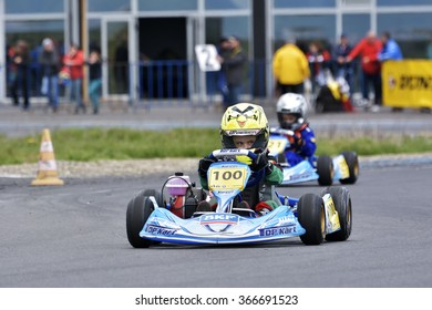 PREJMER, BRASOV, ROMANIA - MAY 3: Unknown pilots competing in National Karting Championship Dunlop 2015, on May 3, 2015 in Prejmer, Brasov, Romania