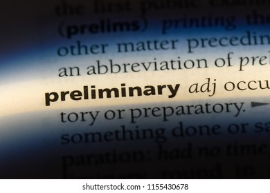 preliminary word in a dictionary. preliminary concept.