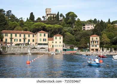 Prelo di Rapallo, Liguria Italy - July 27, 2017: watching the coast from the sea. the small group of Prelo houses in Rapallo.