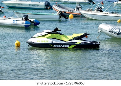 Premantura, Croatia, July 6 ,2019, sea scooter and other ships in the port
