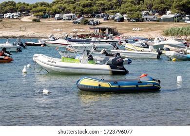 Premantura, Croatia, July 6 ,2019,port of sea boats in the holiday camp in Croatia