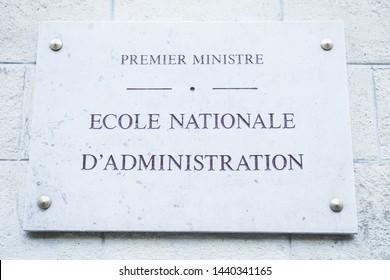 Premier miniatre, Ecole Nationale d'Administration (ENA, 6ème (6th, XIV) arrondissement, Paris, France, June 2019. French street sign of this prestigious school.