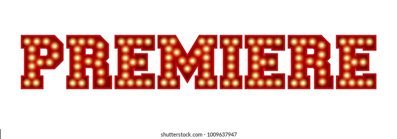 Premiere word made from red vintage lightbulb lettering isolated on a white. 3D Rendering