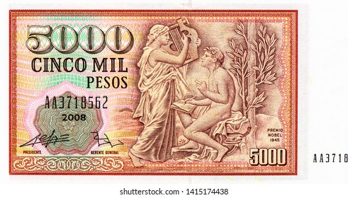 Premio Nobel 1945 on 5000 Pesos Chile bank note. Pesos money. Pesos is the former currency of Chile. Close Up UNC Uncirculated - Collection.