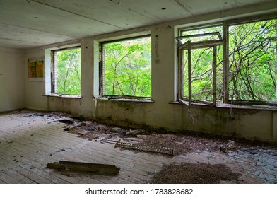 Premises of abandoned school in resettled village of Orevichi in exclusion zone of Chernobyl nuclear power plant, Khoiniki district, Gomel region, Belarus