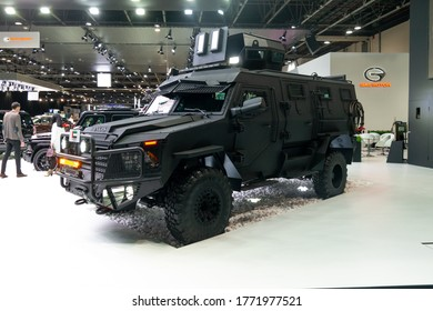 Premium armored vehicle displayed in a car show, safety and luxury automobile | INKAS - Dubai, UAE November 18, 2019