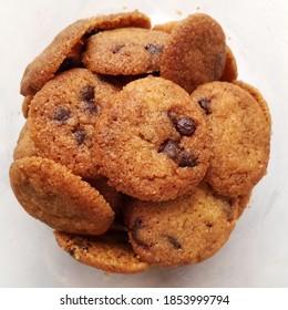 Premium chocolate cookies in a jar