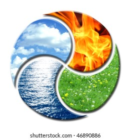 Premium composition of the four natural elements water, air, fire and earth. They create a cycle of balance similar to yin and yang.