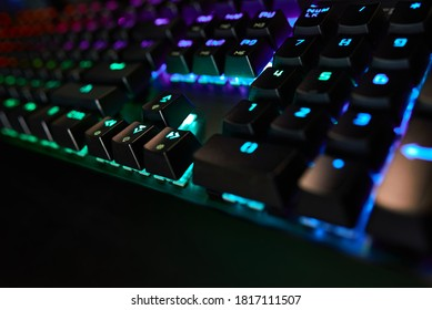Premium Gaming RGB Keyboard with LED backlighting. Blue, blue color