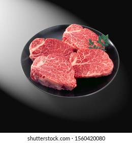 Premium japanese raw beef meat set with blank label ready to cook tenderloin steak