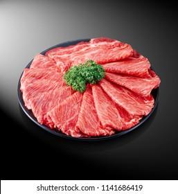 Premium Japanese wagyu beef sliced on plate for syabu syabu