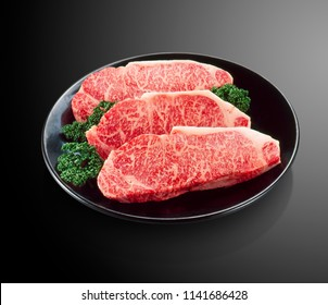 Premium Japanese wagyu beef sliced on plate for sirloin steak