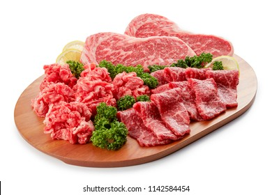Premium Japanese wagyu beef sliced on plate